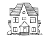 Dibujo de Casa de campo con balcones