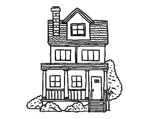 Dibujo de casa de dos pisos con buhardilla para colorear - Para pintar casas ...