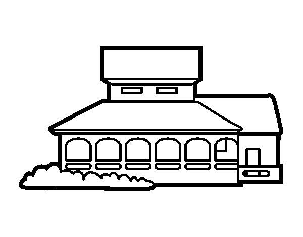 Dibujo de Casa escuela para Colorear - Dibujos.net