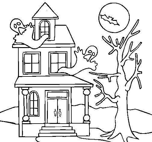 Dibujo de casa fantansma para colorear for Pintar en casa