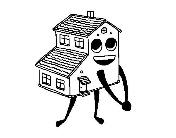 Dibujo de Casa sonriente para Colorear
