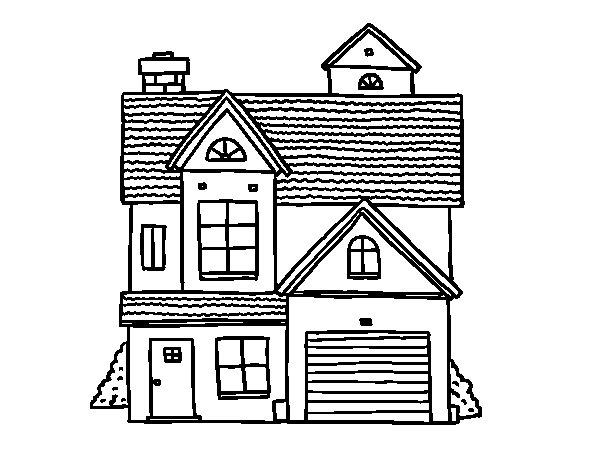 Dibujo de casa unifamiliar americana para colorear for Fachadas de casas modernas para colorear
