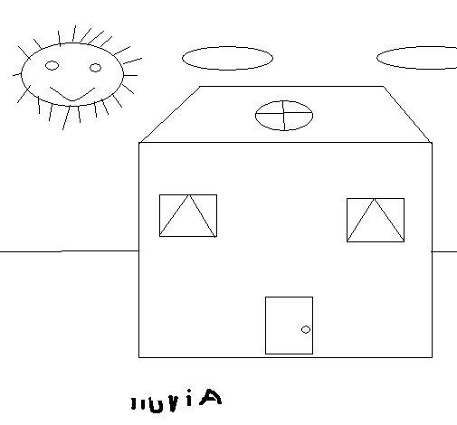 Dibujo de Casa y lluvia para Colorear