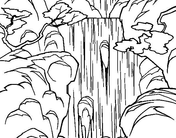 Dibujos De Naturaleza Para Colorear E Imprimir: Dibujo De Cascada Para Colorear