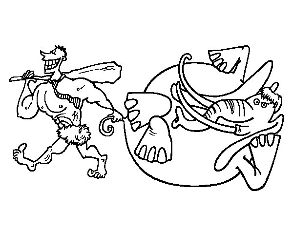 Dibujo Elefante Para Colorear E Imprimir: Dibujo De Caza De Elefante Para Colorear