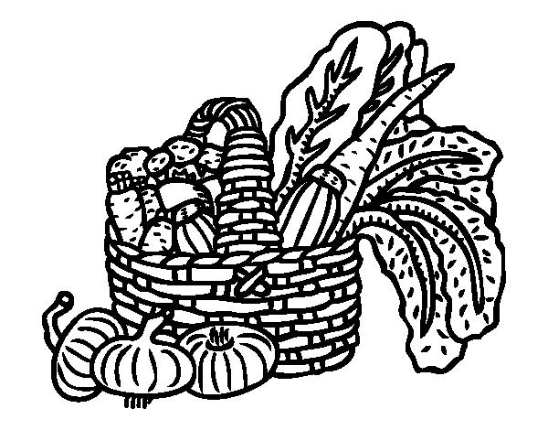 Dibujo de Cesta de verduras para Colorear - Dibujos.net