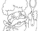 Dibujo de Chef con bigote para colorear