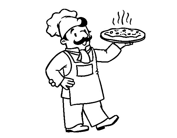 Dibujo de Chef italiano para Colorear