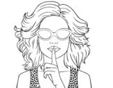 Dibujo de Chica con gafas de sol