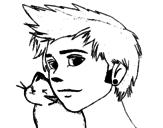 Dibujo de Chico con gato para colorear