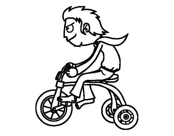 Dibujos Para Colorear De Chicos: Dibujo De Chico En Triciclo Para Colorear