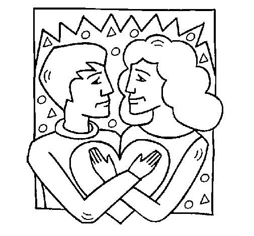 Dibujo de Chico y chica enamorados para Colorear