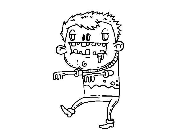 Dibujo de Chico zombie para Colorear
