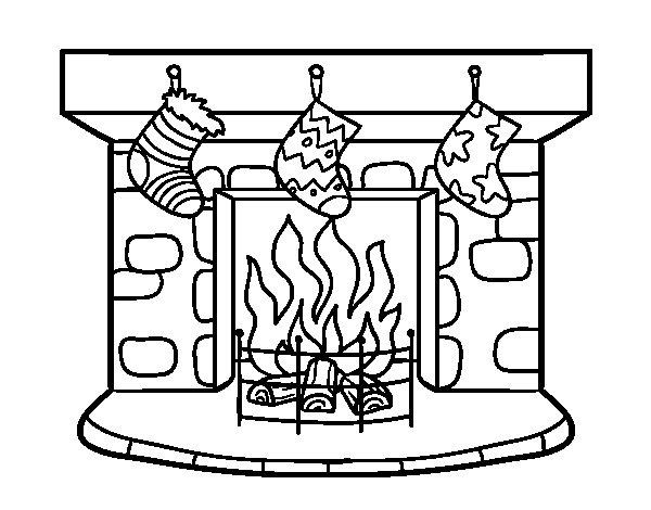 Dibujo de chimenea de navidad para colorear - Dibujos de chimeneas de navidad ...