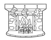 Dibujo de Chimenea de Navidad para colorear