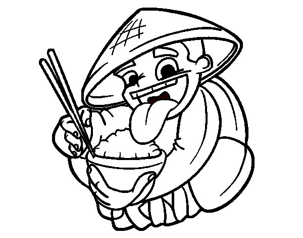 Dibujos Para Colorear Ninos Comiendo: Dibujo De Chino Comiendo Arroz Para Colorear