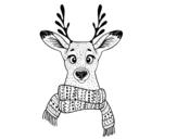 Dibujo de Ciervo con bufanda para colorear