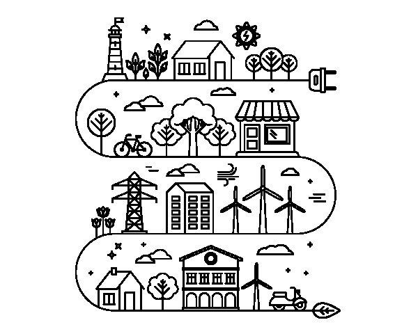 Dibujo de Ciudad Ecológica para Colorear - Dibujos.net