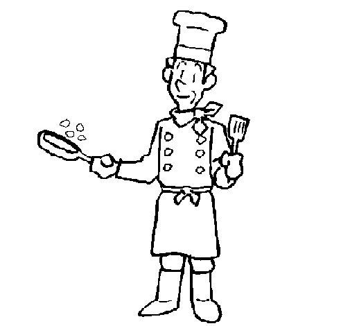 Dibujo de Cocinero cocinando para Colorear