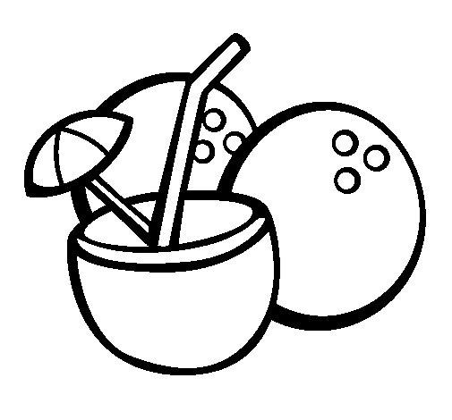 Dibujo de Cóctel de coco para Colorear - Dibujos.net