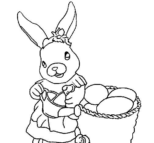 Dibujo de Coneja de pascua con la regadera para Colorear