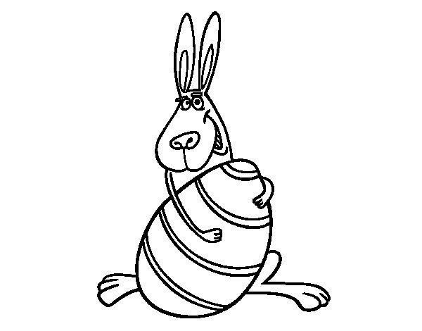 Dibujo de Conejo abrazando un huevo para Colorear