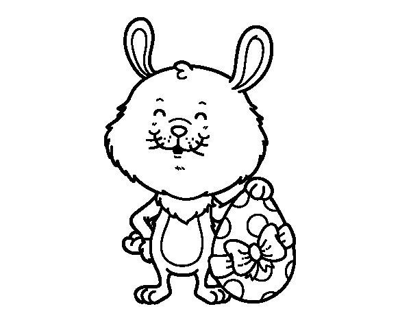 Dibujo de Conejo con regalo de Pascua para Colorear