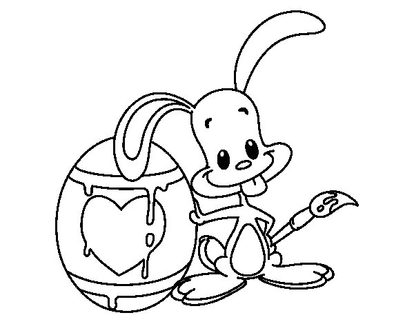 Dibujo de Conejo pintando un huevo para Colorear