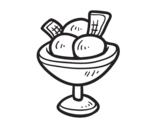 Dibujo de Copa con tres bolas de helado para colorear