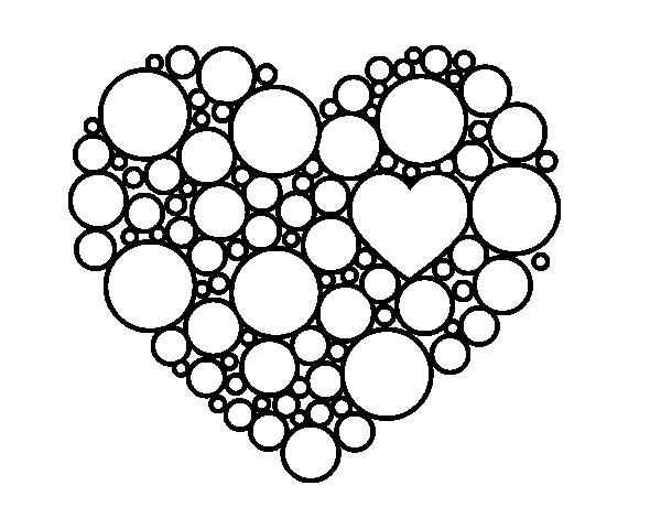 Dibujo de Corazón de círculos para Colorear - Dibujos.net