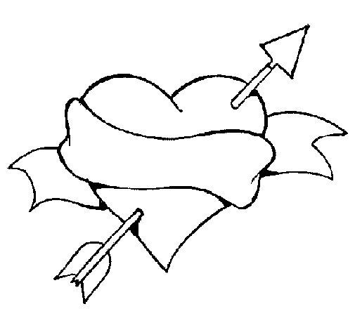 Dibujo de Corazón, fecha y lazo para Colorear
