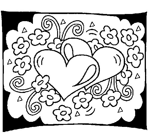 Dibujo de Corazones y flores para Colorear