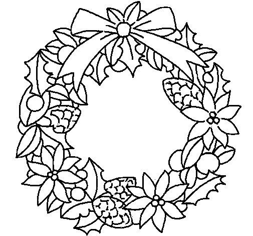Dibujo de Corona de flores navideña para Colorear
