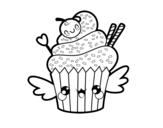 Dibujo de Cupcake kawaii con cereza para colorear