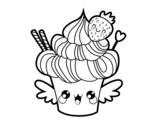 Dibujo de Cupcake kawaii con fresa para colorear