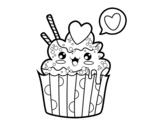 Dibujo de Cupcake kawaii para colorear
