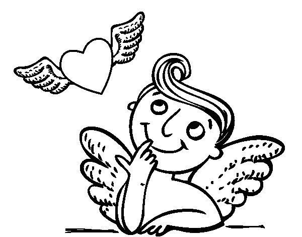 Dibujo De Cupido Y Corazón Con Alas Para Colorear