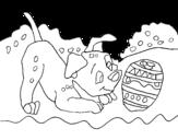 Dibujo de Dálmata jugando para colorear