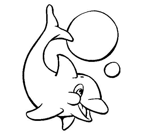 Dibujo de Delfín jugando con una pelota 1 para Colorear
