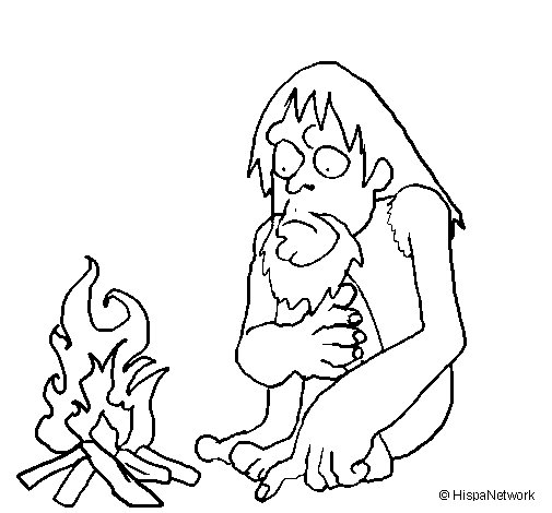 Dibujo de Descubrimiento del fuego para Colorear