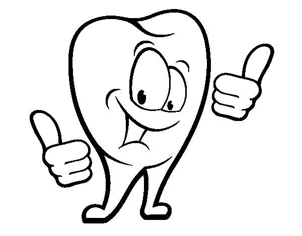 Dibujo Dientes Para Colorear E Imprimir: Cepillo Dental Animado Para Imprimir