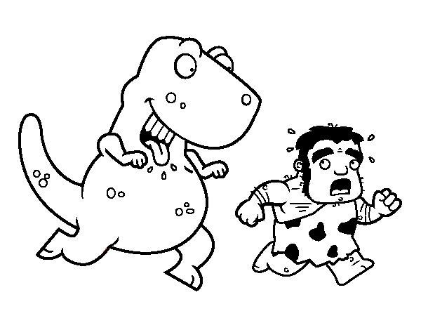 Dinosaurio Para Colorear Para Para 2 Saurios Para Online: Dibujo De Dinosaurio Cazador Para Colorear