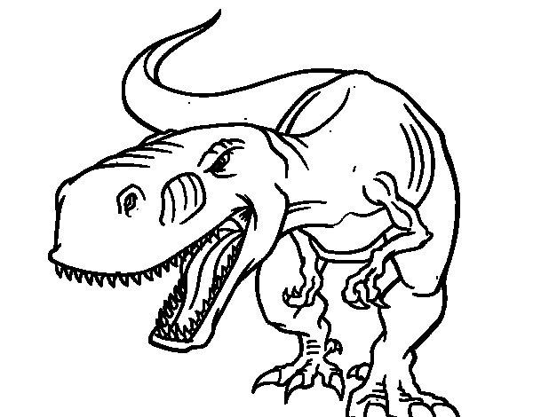 Dinosaurio Para Colorear Para Para 2 Saurios Para Online: Dibujo De Dinosaurio Enfadado Para Colorear