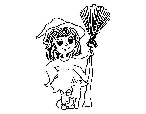 Dibujo de Disfraz bruja de Halloween   para Colorear