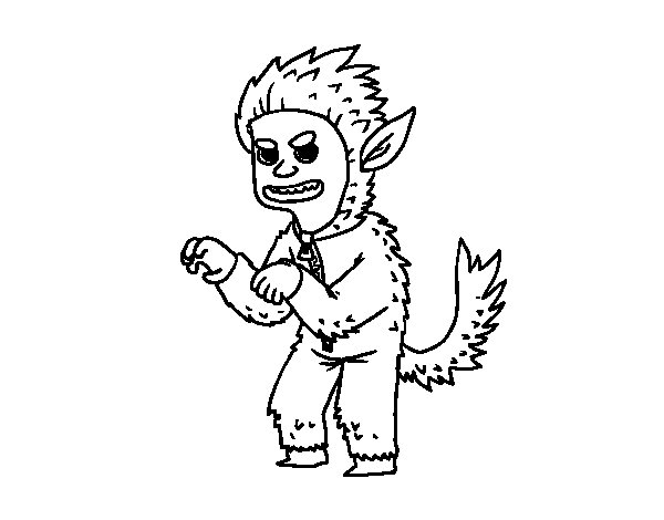 Dibujo De Hombre Lobo Para Colorear: Dibujo De Disfraz De Hombre Lobo Para Colorear
