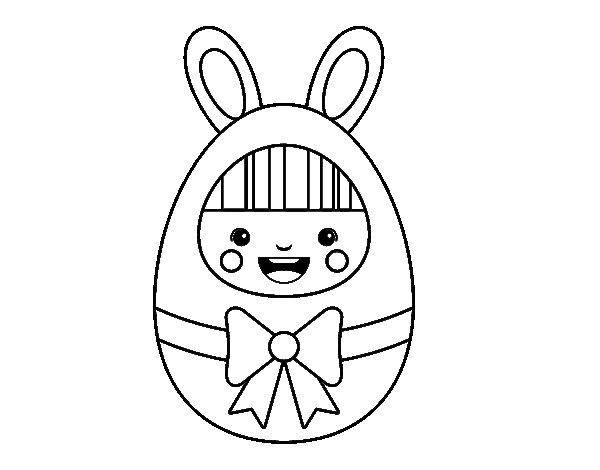 Dibujo de Disfraz de Pascua para Colorear