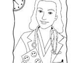Dibujo de Doctora sonriendo para colorear