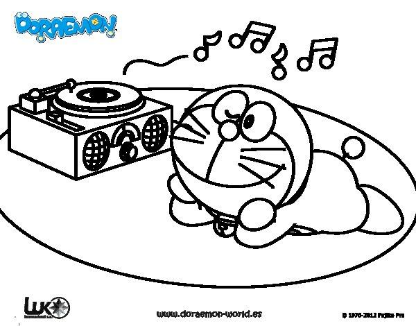 Dibujo de Doraemon escuchando música para Colorear ...