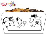 Dibujo de Dr Oetker Junior Chef Molde el gato y la rata para colorear