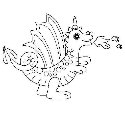 Dibujo de Dragón alegre II para Colorear - Dibujos.net